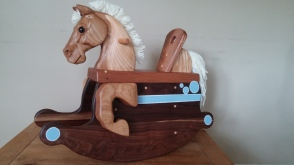 custom sized and painted toddler horse with oak and walnut, painted with milk paint