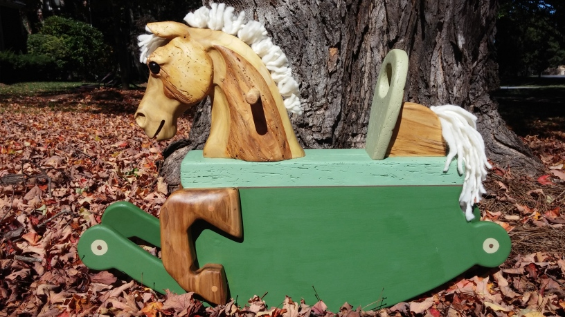 toddler rocking horse carved from reclaimed poplar