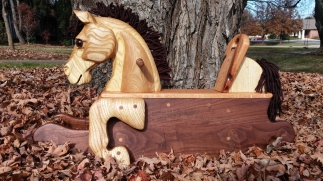 hand carved toddler rocking horse natural wood