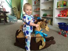 one year old riding toddler rocking horse poplar and walnut