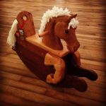 hand carved toddler rocking horse natural wood