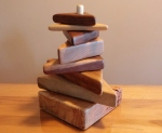 hand made stacking triangles from reclaimed lumber