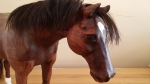 carved walnut quarter horse real horse hair white blaze bay head view