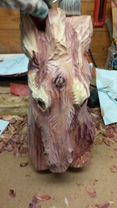 beginning cedar horse head carving