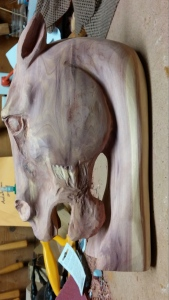 beginning cedar horse head carving sanded