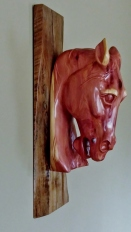 carved cedar horse head sculpture wall hanging shellac side view