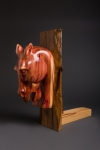 cedar stump carved horse head wall hanging on stand