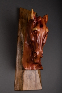hand carved cedar stump horse head on walnut base wall hanging