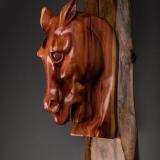 hand carved cedar stump horse head on walnut base wall hanging