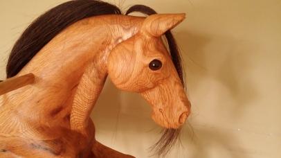 right side of reclaimed oak rocking horse