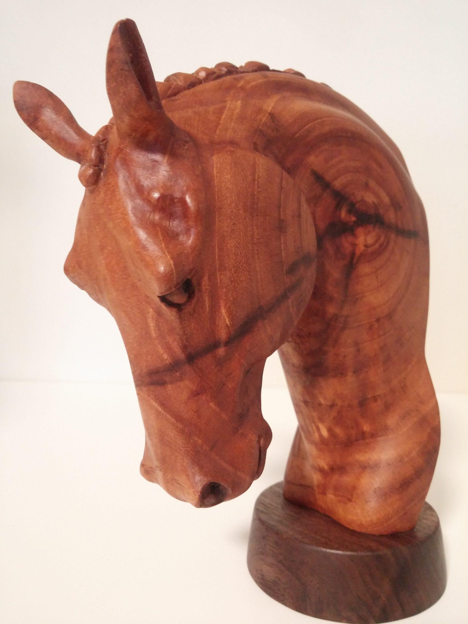 Horse head figure heartwood rocking horses