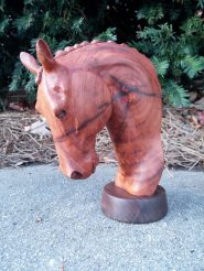 carved horse head bust dressage braided mane
