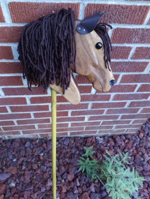 hobby horse with brown mane walnut wood hand made