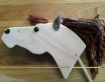 hand made maple wood hobby horse with leather ears and brown mane