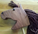 hand made walnut wood hobby horse with brown mane