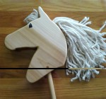 hand made poplar hobby horse with hand painted eye and white mane