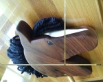 hand made hobby horse in walnut wood with black mane and white blaze